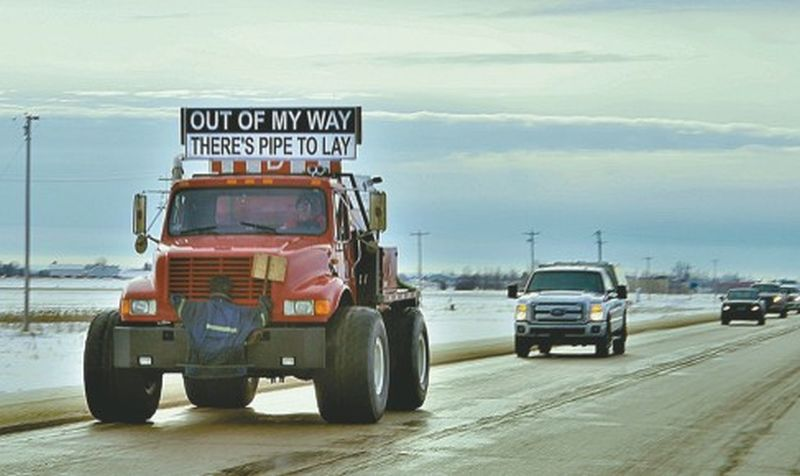 Get out of my way! There's pipe to lay! Convoy demonstrates people are ready to mobilize and fight to develop oil and gas industry