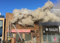 Fire departments respond to building fire in Peace River